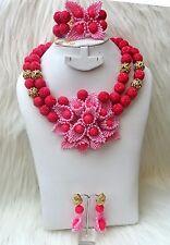 New Design Salmon Pink Elegant Dark African Nigerian Beads Jewellery Set