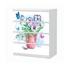 Set Möbelaufkleber für Ikea Kommode MALM 4 Fächer Blume Folie 25B1172