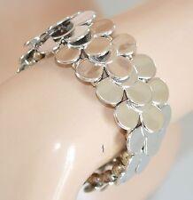 BRACCIALE ARGENTO donna rigido elastico lucido a molla bracelet браслет Z1