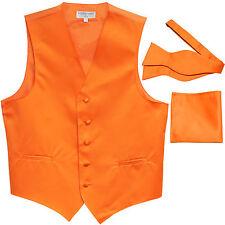 New Men's orange formal vest Tuxedo Waistcoat self tie bow tie and hankie set