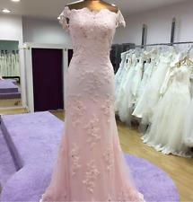Elegant beaded Lace Pink Long Prom Dress Wedding Dress