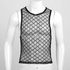Muscle Men Mesh Plaid Sheer Undershirt Vest Sleeveless T-Shirt Tank Tops Singlet