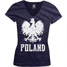 Poland Symbol Polish Distressed Country Born From Polska Juniors V-Neck T-Shirt