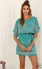 Waist Chiffon Lined Boho Dress L 12 14 Paisley Summer Spring Sundress Chiffon