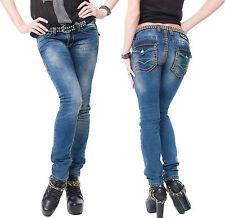 Rock Creek Damen Jeans Hose dicke Orange Nähte Naht Blau Denim Used-Look Vintage