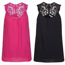 Womens Chiffon Tunic Crochet Detail Sleevless Cotton Lined Pink / Black Vest Top