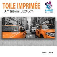 100x40cm - TOILE IMPRIMEE TAXI NEW YORK - TABLEAU DECORATION MURALE - TX-01
