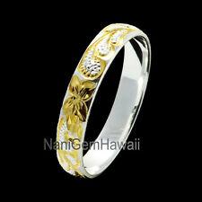 Hawaiian Band Ring Plumeria Scroll  4mm 925 Sterling Silver Ring 14K YG Plated