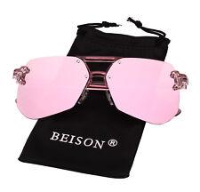 Oversized Womens Luxury Classic Glasses Retro Rimless Eyewear Sunglasses UV400