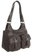 Womens Croc Print Faux Leather Messenger Shoulder Handbag Two Strap Purse Bag