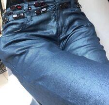 GF Ferre  women's silver blue stretch jeans with rain stones