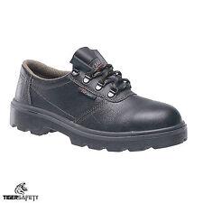 Toesavers C002 S1P Chukka Estilo Cuero Negro Puntera De Acero Zapatos Trabajo De Seguridad