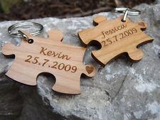 Jigsaw piece Keyrings: Personalised Engraved in Wood