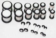 6 Pairs WHITE ACRYLIC PLUGS ear stretching gauges 00g 0g 2g 4g 6g 8g set gauging