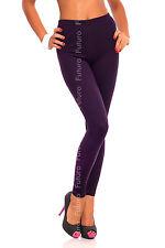 Full Length Plum Dark Violet Premium Cotton Leggings Stretchy Pants Sizes 8-22