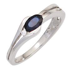 Damen Ring 333 Gold Weißgold 1 Safir blau 1 Diamant Brillant Goldring