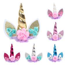 Unicorn Birthday Cake Decor Topper Cute Horn Ears Flower Party Ornament Prop  X