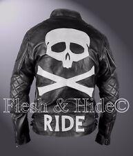 Black Genuine Cowhide Leather Skull and Bones Ride Moto Double Rider Jacket