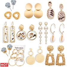 Fashion Women Statement Boho Geometric Pearl Shell Ear Stud Dangle Drop Earrings