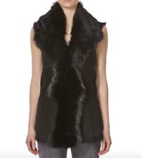 Ladies Black UK Made Waterfall Shearling Waistcoat Sleeveless Body warmer Gilet
