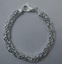 Byzantine Bracelet 7.5mm Domed Oval. Rhodium Over Sterling Silver 7, 7.5, 8 inch