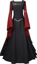 Mittelalter Karneval Gothic Gewand Kleid Kostüm Hermia Schwarz-Bordeaux XS-56