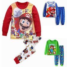 Super Mario Jungen Langarm Schlafanzug Kinder Hausanzug Pyjama Sets Shirt + Hose