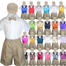 5pc Baby Boys Toddler Formal Vest Shorts Khaki Suit Color Vest Bow Tie Set S-4T