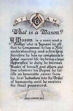 Antique Masonic What is a Mason? art print ring AF&AM Art Master Freemasons