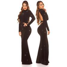 Bodenlanges Mujer Glitzer-Abendkleid Red-Carpet Look Negro #AK1372