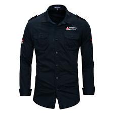 New Mens Military Casual Long Sleeves Pockets Denim Cotton epaulet Shirts FK6474