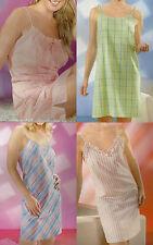 Damen Nachthemd Nachtkleid Größen 38 40 42 44 46 Träger-Nachthemd 4 Varianten