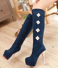 Botines stival muslo mujer talón perno 13 cm negro como piel 9110