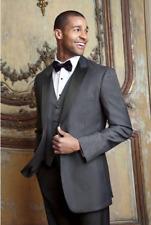 Steel Grey Slim Fit Peak Label Tuxedo with Matching Adjustable Waist Pants