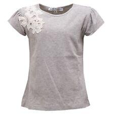 0445S maglia bimba PATRIZIA PEPE grigio/bianco ricamo t-shirt kid