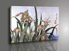Quadro Hokusai Iris Fiori Stampa su tela Canvas con Vernice effetto Pennellate