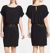 Xscape Black Beaded Stretch Jersey Blouson Cocktail Dress - MSRP $198