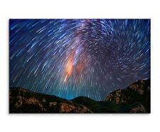 Wandbild Weltraum Natur Nacht Milchstraße über Berglandschaft auf Leinwand
