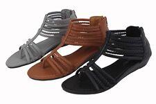 New Women's Summer Gladiator Straps Zips Sandals Comfort Flip Flops  Sz 6 - 11