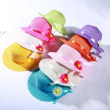 Baby Fashion Sun Hat Girls Summer Floral Flower Straw Visor Beach Hats 9 Colors