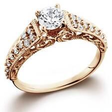 1/2ct Vintage Diamond Engagement Ring 14K Rose Gold