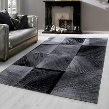 Modern designer Teppich für Wohnzimmer kariert Vintage  Schwarz Weis 8003