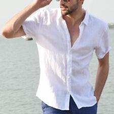 Men's Beach Short Sleeve Thin Shirts Tops Cotton Linen Loose Casual Tees Blouse