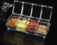 NUOVO Crystal condimento ACRILICO BARATTOLO PER SPEZIE Dispenser Saliera-Pepaiola cucina sale cucchiaio BOX