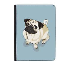 """Pug Cachorro Perro Azul Vida Gracioso Universal 9-10.1"""" Funda para Estuche Abatible de Cuero"""
