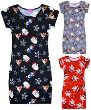Chicas Navidad Midi Vestido Niños Nuevo Rojo Negro Gris Navidad vestidos mayores de 7-13 años