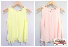 Camicia Donna Chiffon Senza Maniche Top camicetta maglia maglietta maglia tshirt