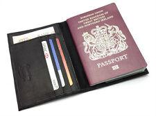 NEW SLIMLINE REAL LEATHER PASSPORT TRAVEL WALLET COVER HOLDER ORGANISER GIFT BOX