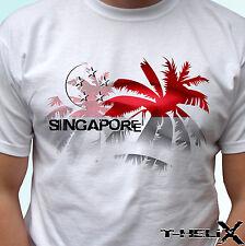 Singapore palm flag - white t shirt top tee - mens womens kids & baby sizes