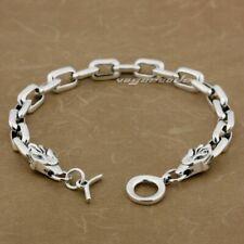 925 Sterling Silver Wolf Toggle Bangle Mens Biker Rock Punk Cuff Bracelet 8G012B